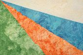 collection blue, orange,green, and white amate bark paper handmade created in Mexico  from Amate, Ne poster