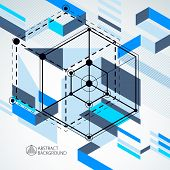 Geometric Technology Vector Blue Drawing, 3d Technical Backdrop. Illustration Of Engineering System, poster