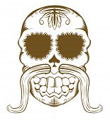 foto of eye-sockets  - Vector illustration of decorative sugar skull with mustaches - JPG
