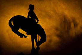 stock photo of bucking bronco  - Silhouette of cowboy on a bucking bronco - JPG