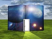 stock photo of encounter  - Book with science fiction scene and open doorway of light - JPG
