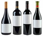 Four Unlabeled Wine Bottles Isolated With Clipping Path