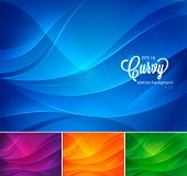 stock photo of curvy  - A set of curvy abstract background - JPG