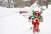picture of telegram  - Mailbox with Christmas decorations covered in snow - JPG