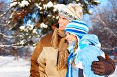 picture of winter sport  - Young happy smiling couple in love - JPG