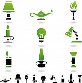 stock photo of flambeau  - primitive and modern objects sources of light - JPG
