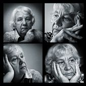 Old sad woman. Set