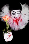 stock photo of clown rose  - a creepy clown gives viewers a rose - JPG