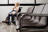 Постер, плакат: Портрет Старшие женщины на инвалидной коляске в вестибюле больницы
