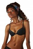 image of anorexic  - Beautiful young black african adult woman in black lingerie isolated on a white background - JPG