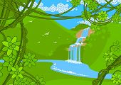 stock photo of garden eden  - Waterfall - JPG