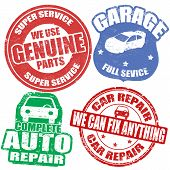 Set Of  Car Service Stamps