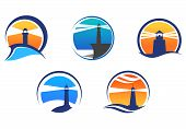 image of nautical equipment  - Colorful lighthouse symbols set isolated on white background for any navigation concept - JPG