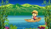 Illustration of a smiling boy in a boat and a beautiful nature background