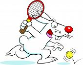 Cartoon rabbit playing tennis
