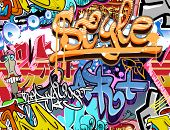 stock photo of rap  - Graffiti wall - JPG