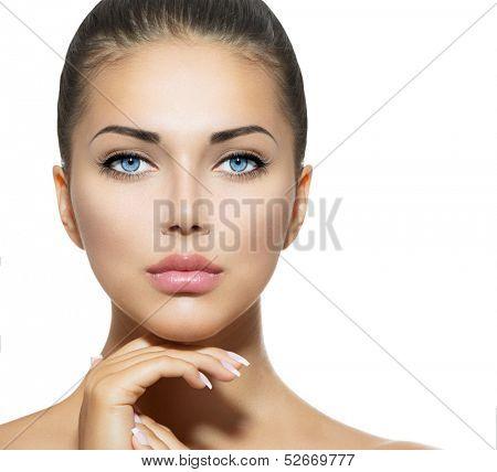 Beautiful Woman Face. Beauty Portrait. Beautiful Spa Woman Touching her Face. Perfect Fresh Skin. Pu poster