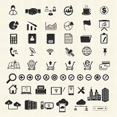 Business Finance and Information technology icons on texture background