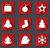 stock photo of applique  - Merry Christmas flat icons with shadows - JPG
