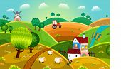 stock photo of tractor  - Rural landscape with hills house mill and tractor - JPG