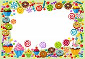 pic of cream cake  - Vector background with candy sweet and pastry and with place for your text - JPG