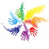 pic of holi  - Holi splash of colors along with colorful handprints - JPG