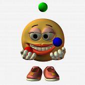 stock photo of feeling stupid  - smiley girl juggling - JPG