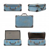 picture of old suitcase  - Small blue vintage suitcase in different views - JPG
