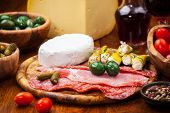 stock photo of antipasto  - Antipasto catering platter with salami and cheese - JPG