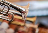 stock photo of blow-up  - close up of trumpets orchestra in concert - JPG