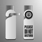 picture of motel  - detailed illustration of do not disturb sheets with different door knobs used in hotels and motels - JPG