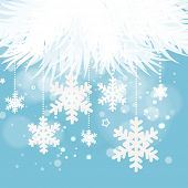 Abstract blue winter Christmas background with snowflakes