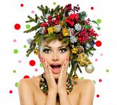 stock photo of vivid  - Christmas Woman - JPG
