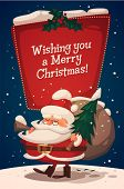 Christmas greeting card \ poster \ banner. Santa brings gifts and fir tree. Vector illustration.