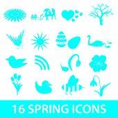 stock photo of duck egg blue  - 16 blue spring icons vector set eps10 - JPG