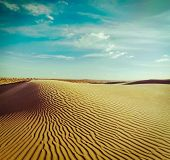 stock photo of dune  - Vintage retro hipster style travel image of dunes of Thar Desert - JPG