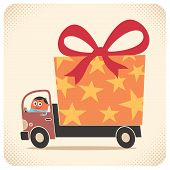 stock photo of special occasion  - Truck driver delivers gift for birthday or some other special occasion - JPG