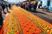 Ornate Holy Week Carpet In Antigua, Guatemala