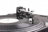 stock photo of lp  - Turntable with dj needle on spinning record closeup