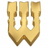 stock photo of tilt  - Letter W from gold solid alphabet - JPG