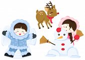 stock photo of rudolf  - many kids playing with snow on the winter - JPG