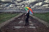 businesswoman with umbrella and rain