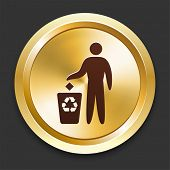 Recycle with Trash Bin Icons on Gold Button Collection