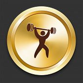 stock photo of snatch  - Weight Lift Icons on Gold Button Collection - JPG