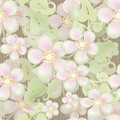 Seamless Pastel Floral Pattern On Beige Striped