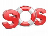 stock photo of sos  - SOS symbol with lifebelt isolated on a white background - JPG