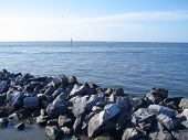 picture of dauphin  - Beautiful Rocks and Horizon on the South East End of Dauphin Island - JPG