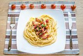 picture of carbonara  - Pasta Carbonara with bacon and ground parmesan - JPG