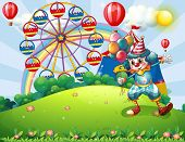 Illustration of a clown at the hilltop with an amusement park and a rainbow