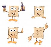 stock photo of matzah  - Cute set of 4 cartoon matzah - JPG